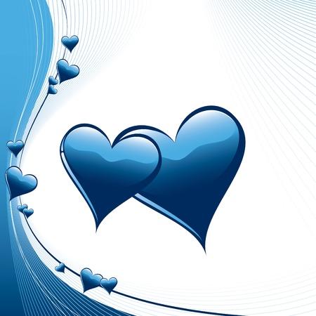 blue swirl: Hearts  Illustration  Illustration