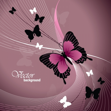 shiny background:  Illustration with Butterflies