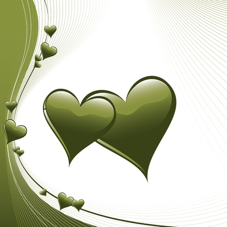olive green: Hearts  Illustration in  format