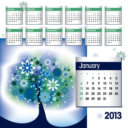 2013 Calendar  January Stock Vector - 14854130