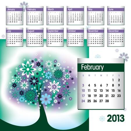 2013 Calendar  February Stock Vector - 14854129