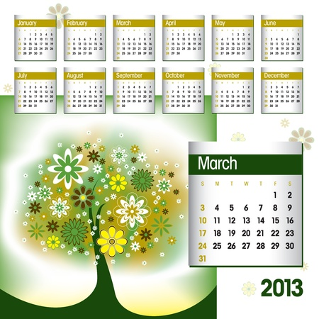 2013 Calendar  March  Stock Vector - 14854128