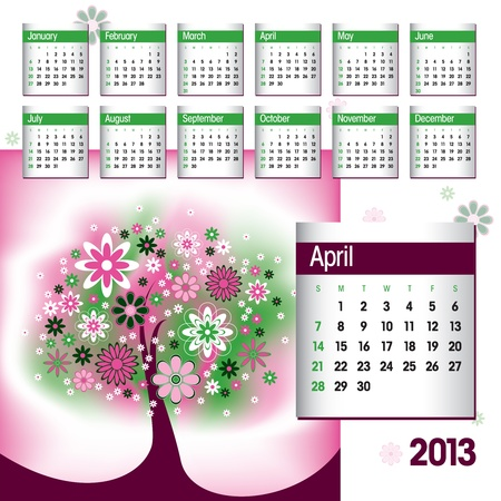 2013 Calendar  April  Stock Vector - 14854127