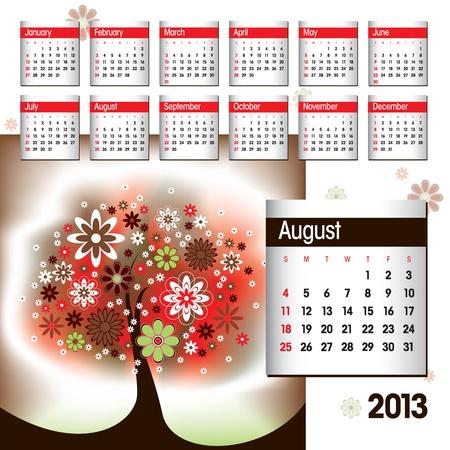 2013 Calendar  August  Stock Vector - 14854137