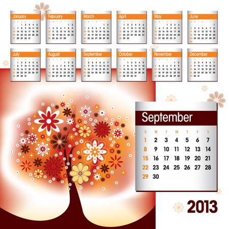 2013 Calendar  September Stock Vector - 14854134