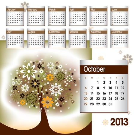 2013 Calendar  October Stock Vector - 14854132