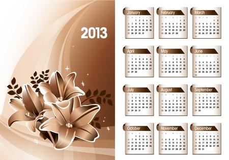 2013 Calendar   Stock Vector - 14987417