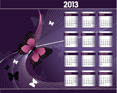 purple butterfly: 2013 Calendar  Illustration