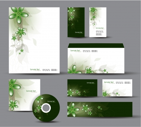 Modern Identity Package   Design  Floral Theme Stock Vector - 17628119