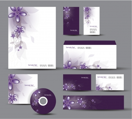 Modern Identity Package   Design  Floral Theme Stock Vector - 17628117