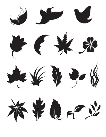 Black and White Nature Icon Set  Vector