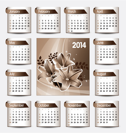 florish: 2014 Calendar  Vector Design
