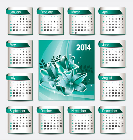 florish: 2014 Calendar  Vector Illustration