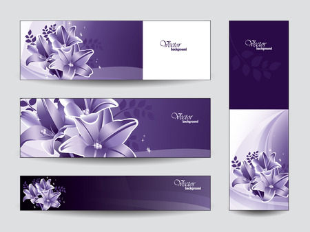 Set of Vector Banners with Lily Flowers  Eps10   Vector