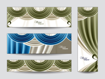 revue: Set of Vector Banners with Curtains  Illustration