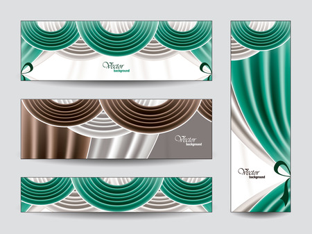 manege: Set of Vector Banners with Curtains  Eps10   Illustration