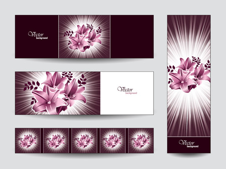 Abstract Vector Banners with Lily Flowers   Eps10   Vector