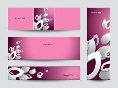 Banners with 3d Leaves  Vector