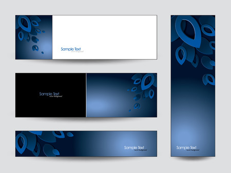 3d Vector Banners Abstract Leaves Stock Illustratie