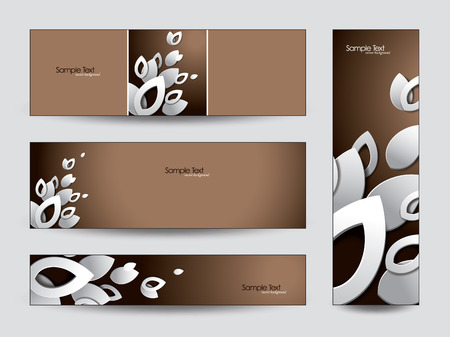 3d Vector Banners  Abstract Leaves   Vector