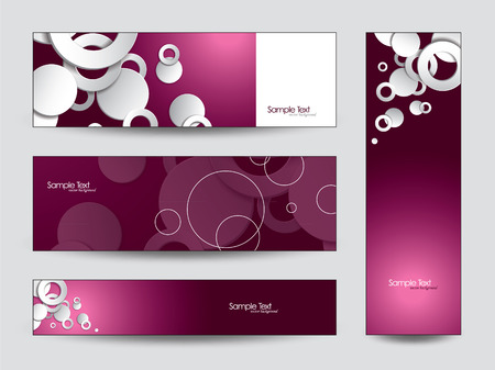 3d Banners   Abstract Vector Design with Cut Out Circles    Vector