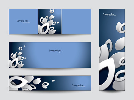 3d Banners   Abstract Vector Design with Cut Out Leaves    Vector