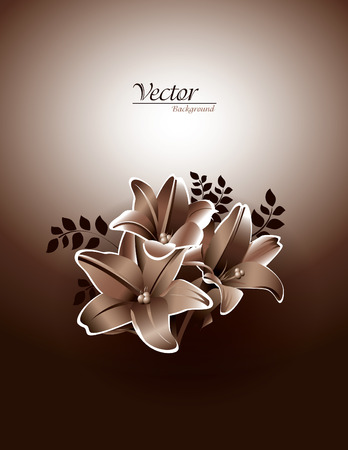 florish: Bouquet of Lily Flowers  Vector Background