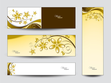 golden texture: Abstract Vector Banners with Flowers  Illustration