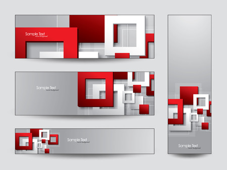 Abstract Vector Banners with 3D Squares