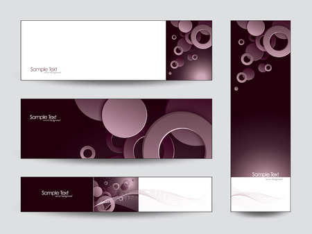 Abstract Vector Banners  3D Circles and Rings  Vector