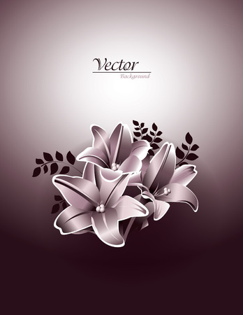 florish: Lily Flowers  Vector Illustration  Illustration