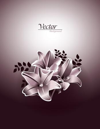 florish: Lily Flowers  Vector Illustration  Illustration