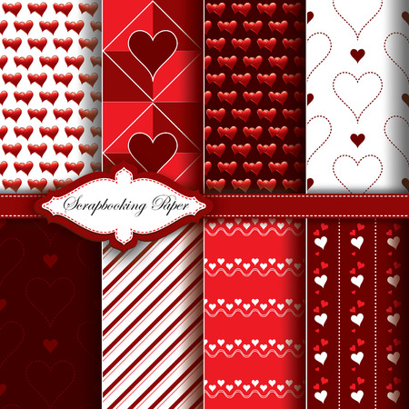 Vector Heart Valentines Day Pattern Paper for Scrapbook. Vector