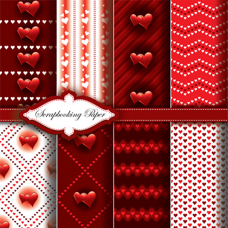 white fabric texture: Vector Heart Valentines Day Pattern Paper for Scrapbook.