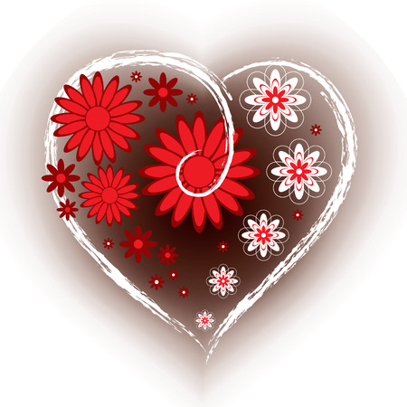 Floral Heart. Valentines Day Background. Vector