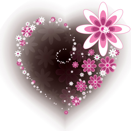 petal: Floral Heart. Valentines Day Background.