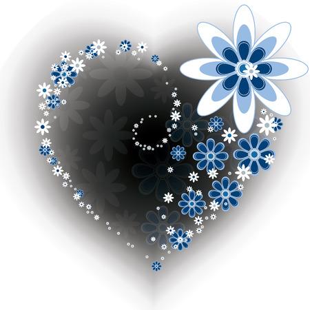 corazones azules: Coraz�n floral. Fondo del d�a de San Valent�n.