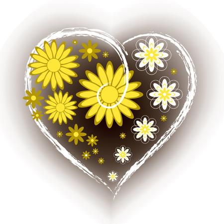 golden daisy: Fondo floral en forma de coraz�n. Vectores