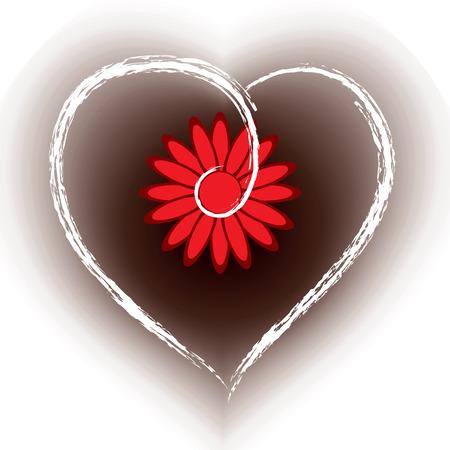 floral heart: Floral Heart Shape Background.