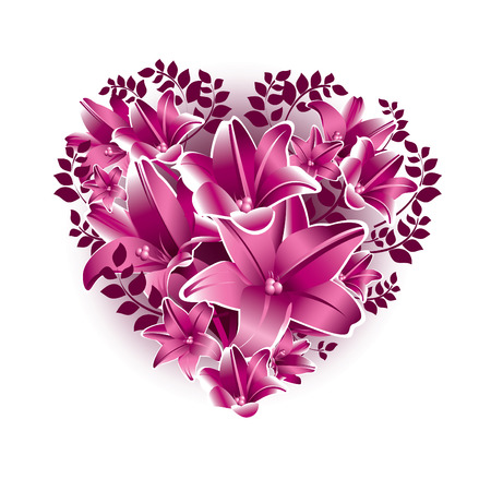 floral heart: Floral Heart. Valentines Day Background.