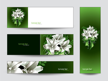 lily flowers collection: Abstract Vector Banners Collection with Lily Flowers.