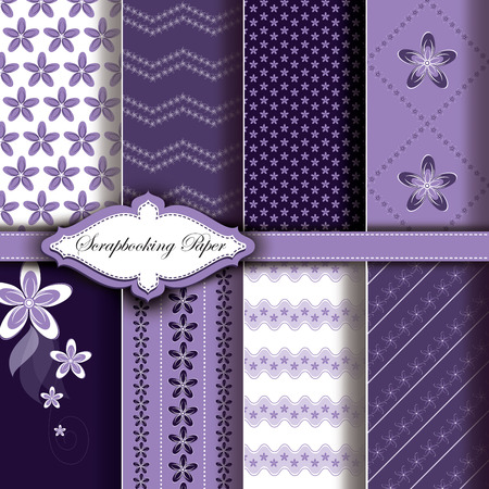 Abstract Vector Floral Pattern Paper for Scrapbook Illustration
