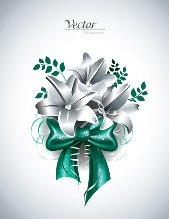 florish: Lily Flowers with Green Bow.