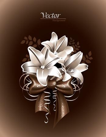 fond brun: Lily Fleurs sur Fond marron.
