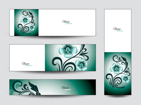 Set of Green Floral Banners.