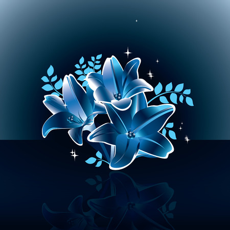 Blue Vector Lily Flowers.
