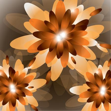 Orange Vector Floral Background.