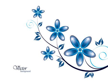 Vector Tak van Blauwe Bloemen.