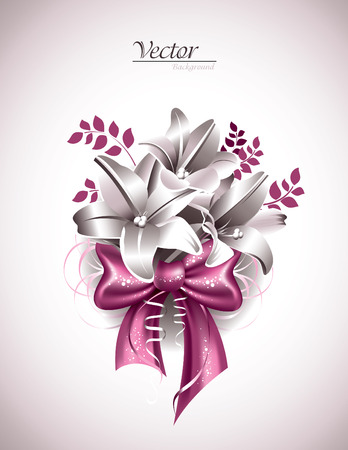 florish: Lily Flowers with Pink Bow. Illustration