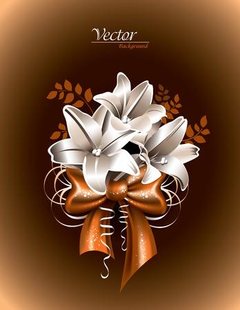 florish: Lily Flowers on Orange Background.